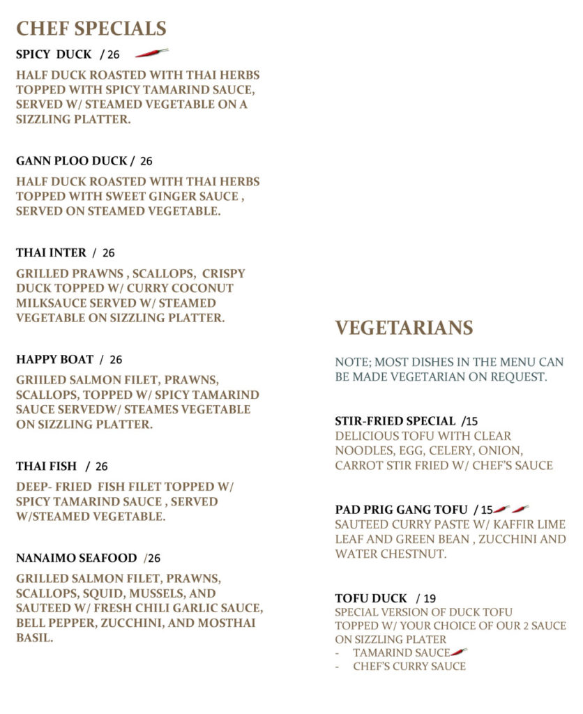 Chef Specials & Vegetarians